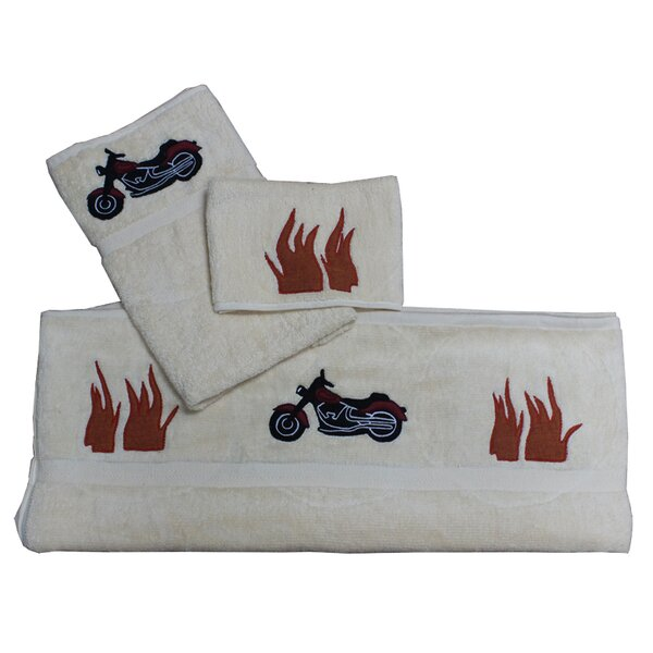 Motor Cycle 100% Cotton Towel Set (Set of 3) by Patch Magic